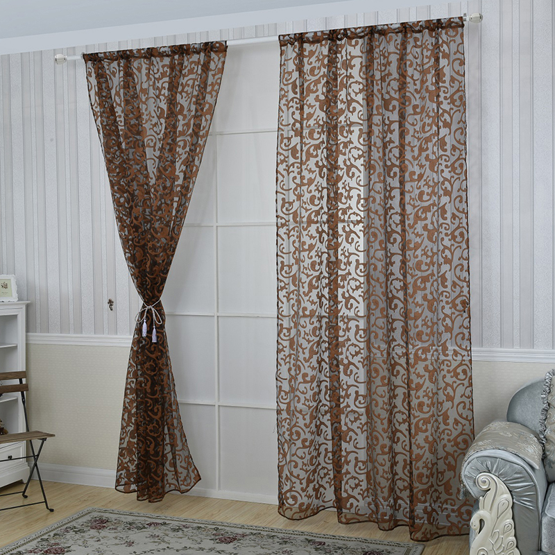 Floral pattern room chic window curtain sheer panel drapes for Patterned sheer curtain panels