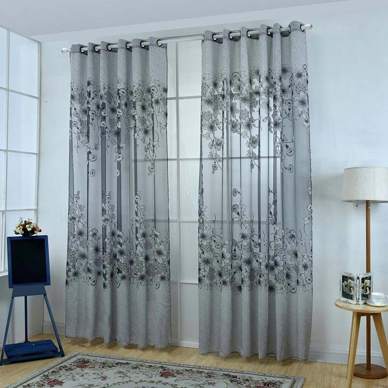 Upscale floral tulle room door blackout window curtain for Door net curtains