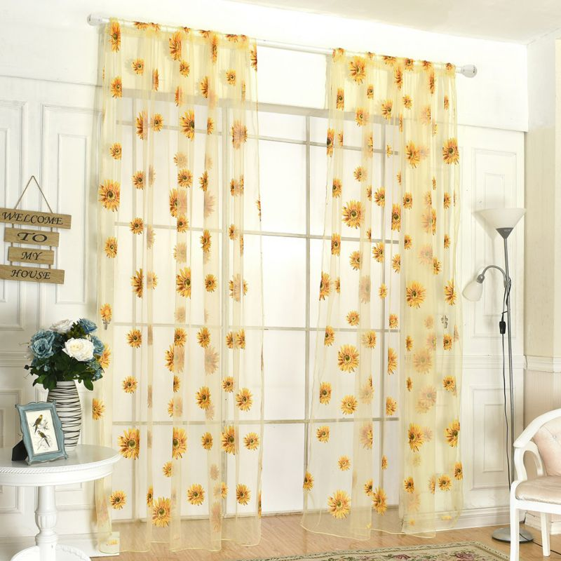 Voile cafe net curtain panel window curtain or tassel for Door net curtains