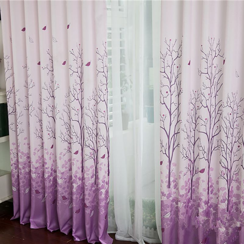 Perforated Hooks Butterfly Art Print Door Window Curtain Treatment Panel Drapes