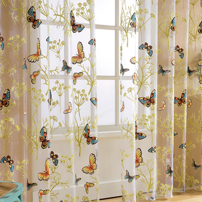 door window home decor voile tulle valance scarf floral butterfly sheer curtains ebay. Black Bedroom Furniture Sets. Home Design Ideas