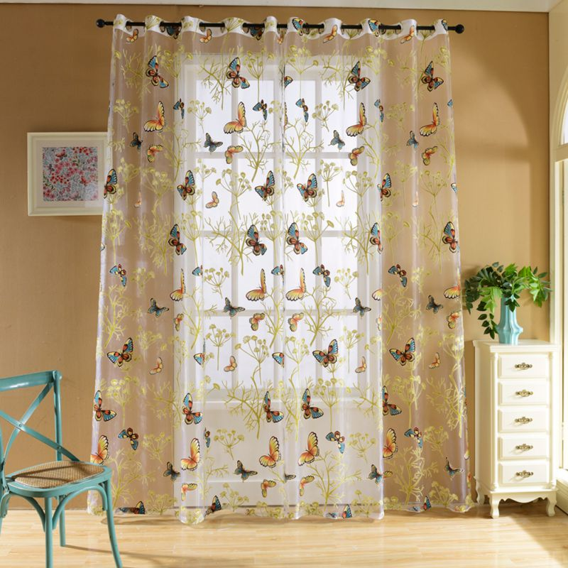 Floral print voile window curtain purdah panel home for Painting sheer curtains