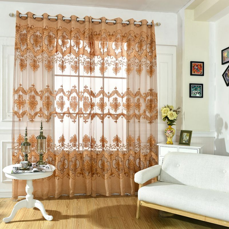 Elegant Kitchen Curtains Valances: Door Window Elegant Floral Tulle Voile Drape Panel Sheer