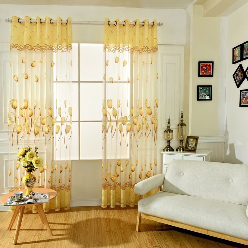Curtain For Balcony: Tulip Sheers Window Drape Scarf Valance Curtains Door Room