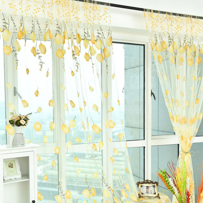 door room voile window curtain sheer panel drapes scarf curtain beauty decor kit ebay. Black Bedroom Furniture Sets. Home Design Ideas