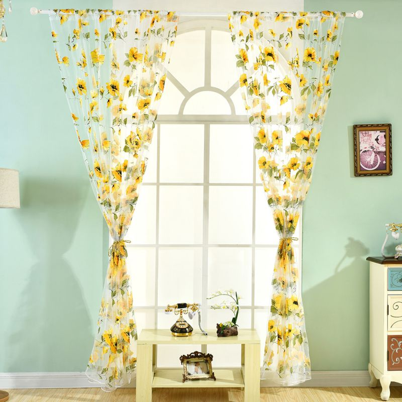 Modern Window Curtain With Flower Design: Modern Tulle Voile Door Window Curtains Floral Drape Panel