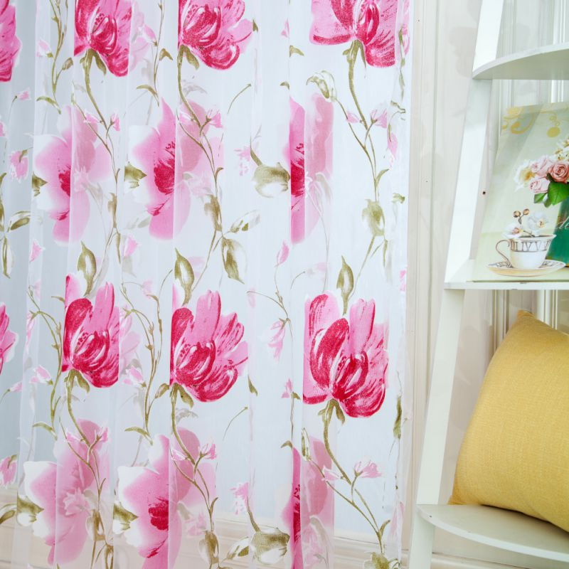Voile Tulle Door Window Room Curtain Drape Divider Totem Floral ...