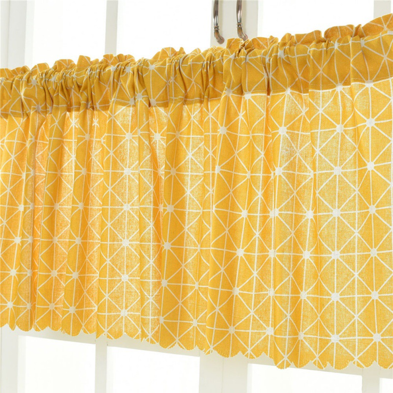 Cafe Kitchen Short Plaid Sheer Window Tulle Curtain Panel
