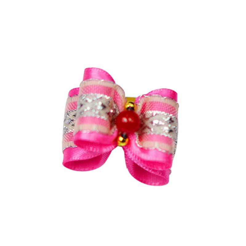 10pcs Puppy Pet Dog Rhinestone Hair Bow With Rubber Bands
