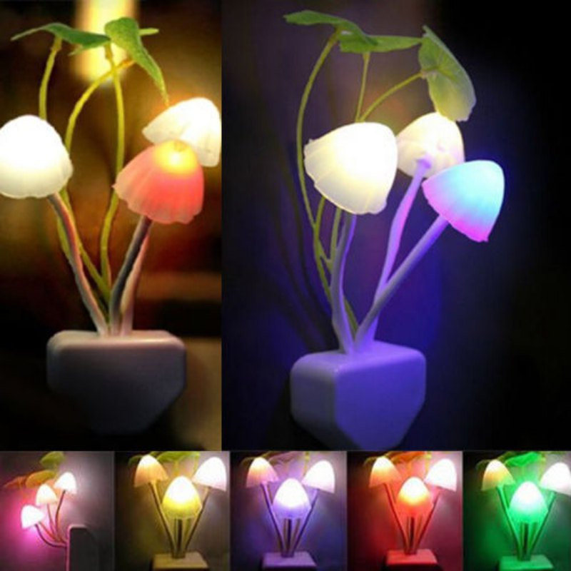 Us Plug Colorful Sensor Led Mushroom Night Light Wall Lamp Home Decor Romantic Ebay