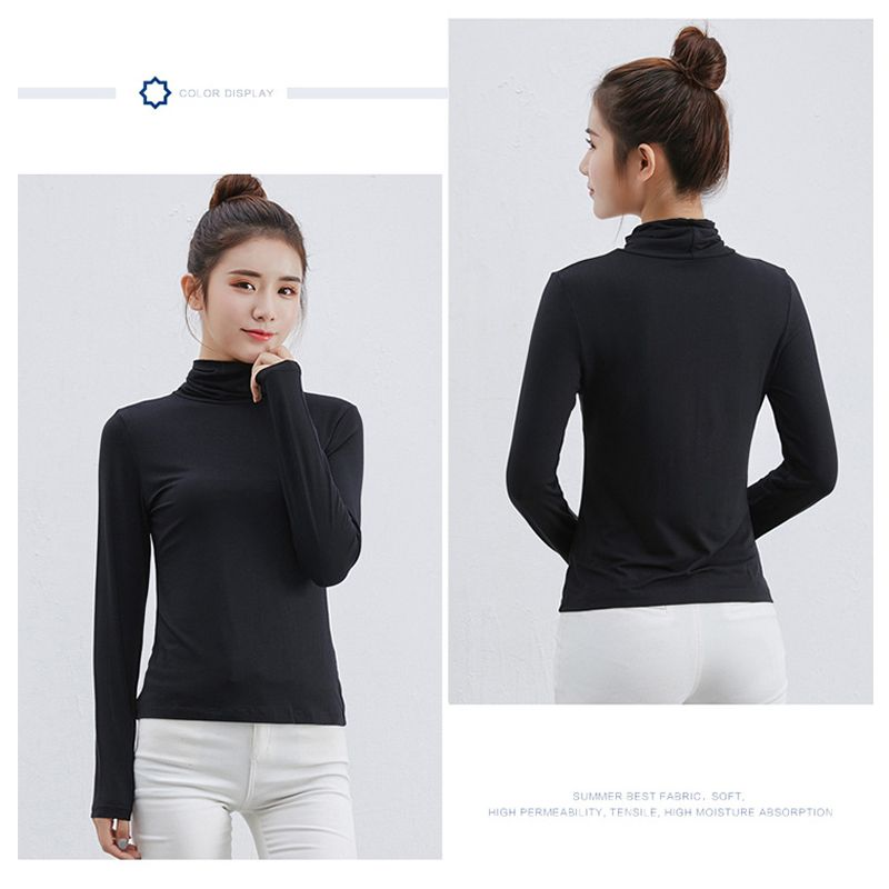 Women-High-Collar-Tops-Fashion-Casual-Shirts-Slim-T-Shirt-Long-Sleeve-Blouse