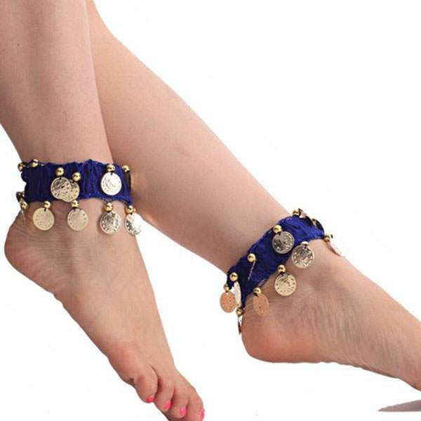 Belly-Dance-Anklet-Accessories-Chiffon-amp-Coins-Foot-Chain-Indian-Gypsy-Ankle-Chain