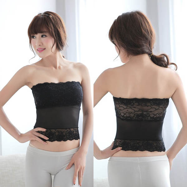 Women Sexy Lace Sheer Strapless Boob Tube Top Bandeau Bra Slim ...