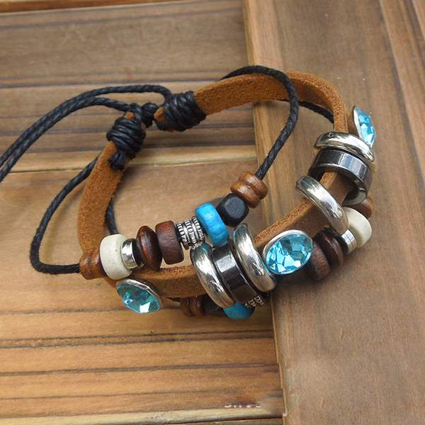 Leather Wrap Charm Bracelet: Beaded Leather Braided Bracelet Infinity Charm Wrap