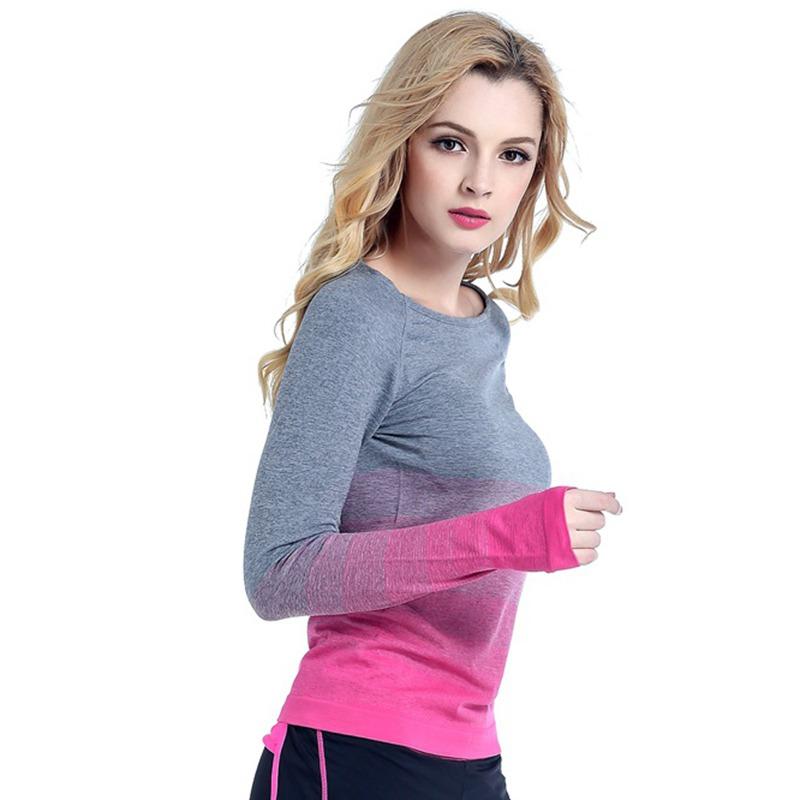 Women long sleeve yoga shirt gym breathable t shirt for Long sleeve running shirt womens