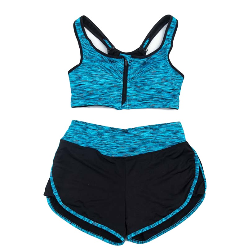 Women 2Pcs Sports Bra Set Tank Tops Shorts Pants Suit Gym