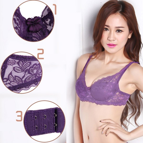 Women Thin Padded Lace Floral Underwire Bra Push Up Brassiere 32 ...