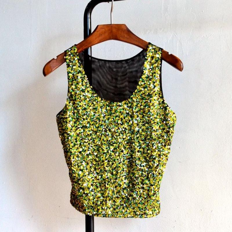 Womens Bling Sequin Casual Cami Tank Beach Vest Crop Top Bralette ... 74df2d1b17b8