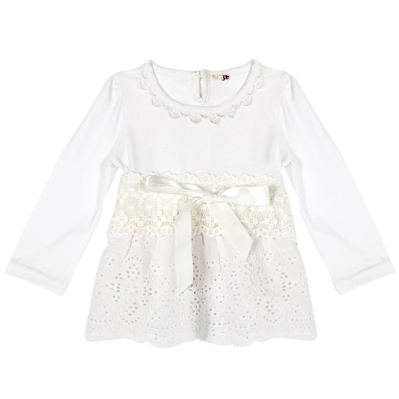 Toddler Baby Girls Lace Bow Dress Long Sleeve Tops