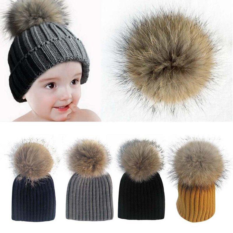 Baby Kids Child Knit Raccoon Fur Pom Pom Bobble Hat Crochet Warm Ski