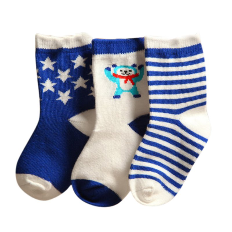 3 Pairs Lot Baby Cotton Socks Newborn Floor Socks Kids