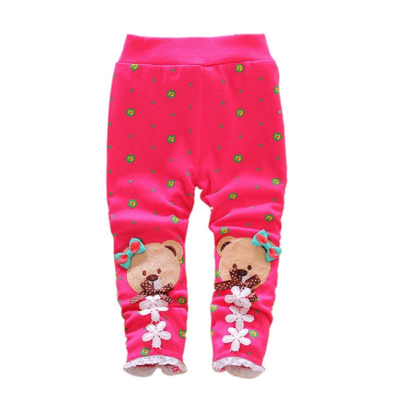 Toddler Baby Girl Cotton Pants Cartoon Stretch Warm Long ...