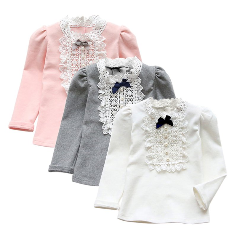 a85ccf7ea3d758 2-8Y Baby Kid Girl Bowknot Long Sleeve Shirt Fashion US Toddler Lace ...