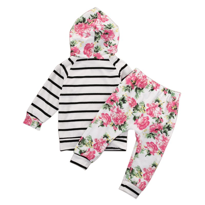 Infant Baby Girl Striped Hooded Tops Outerwear Floral