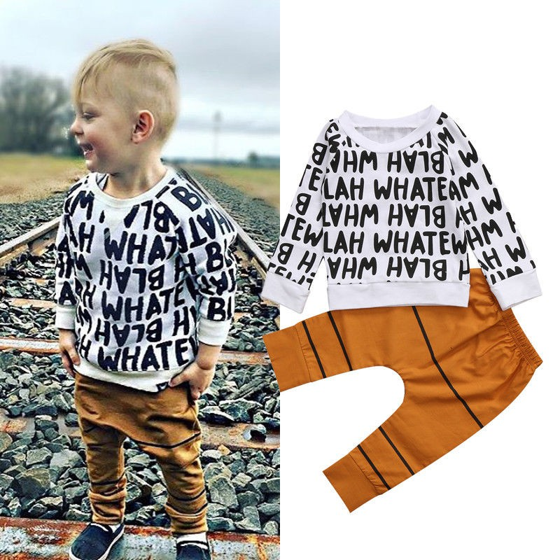 2PCS-Toddler-Kids-Baby-Girls-Boys-Outfits-T-shirt-Tops-Long-Pants-Tracksuit-Suit