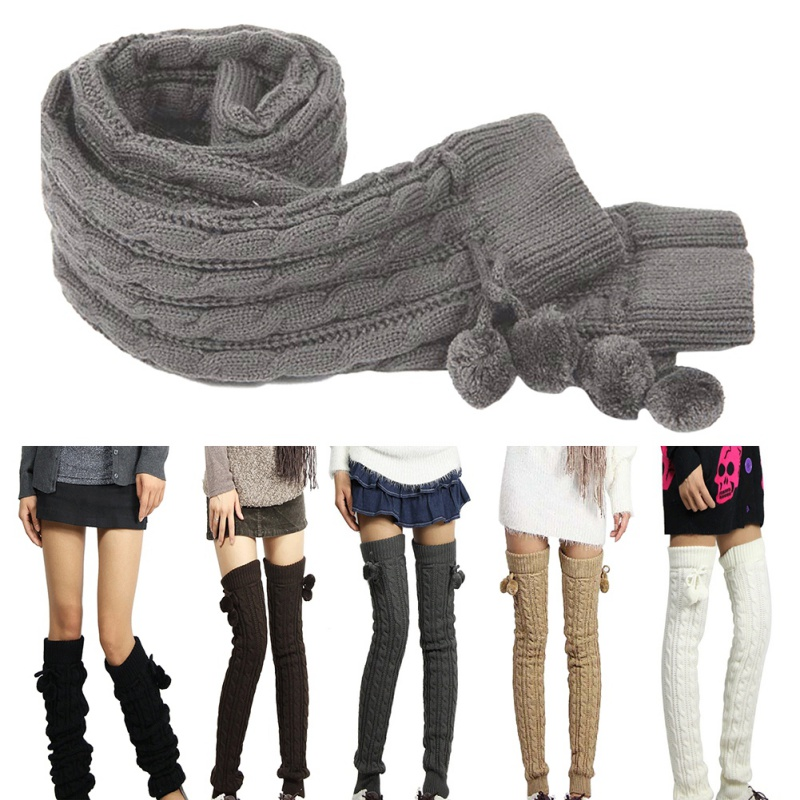 9f2401d16 Women Cable Knit Over Knee Long Tube Socks Leg Warmers Boot Thigh ...