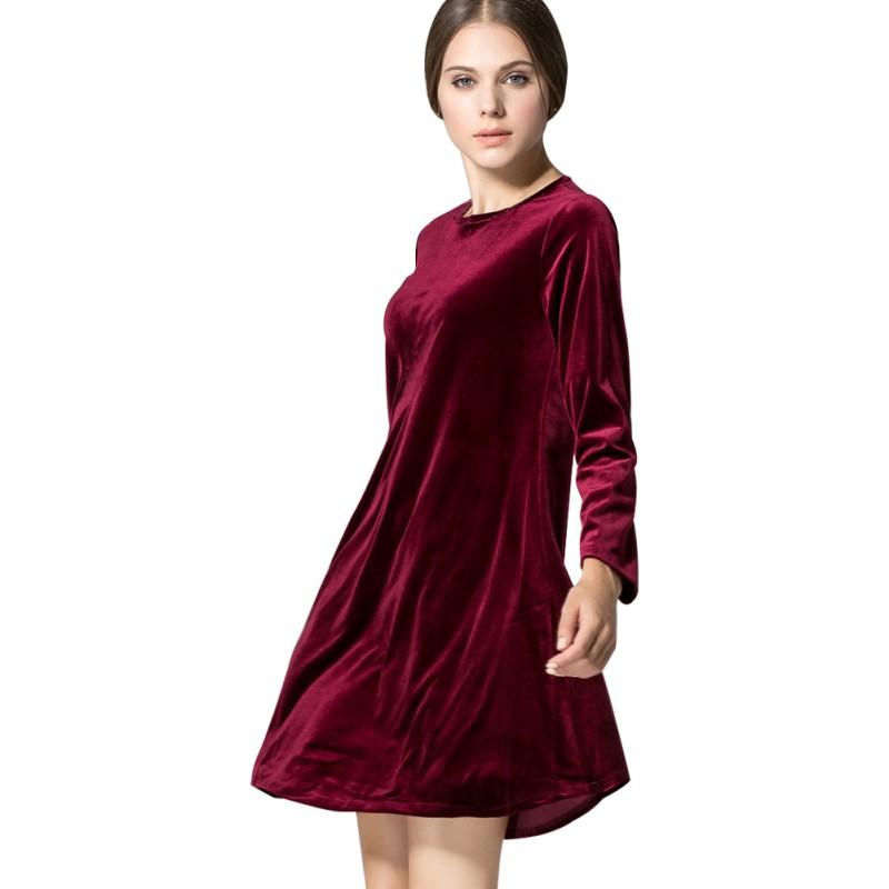 Womens vintage velvet skater dress ladies long sleeve top jpg 800x800 Ladies  velvet evening gowns 0d79d319e551