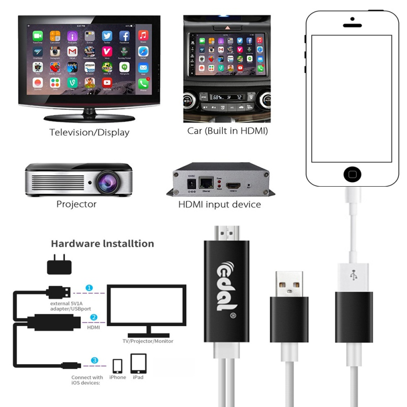 Usb to hdmi hdtv hd mirroring adaptor cable cord for for Mirror iphone to tv