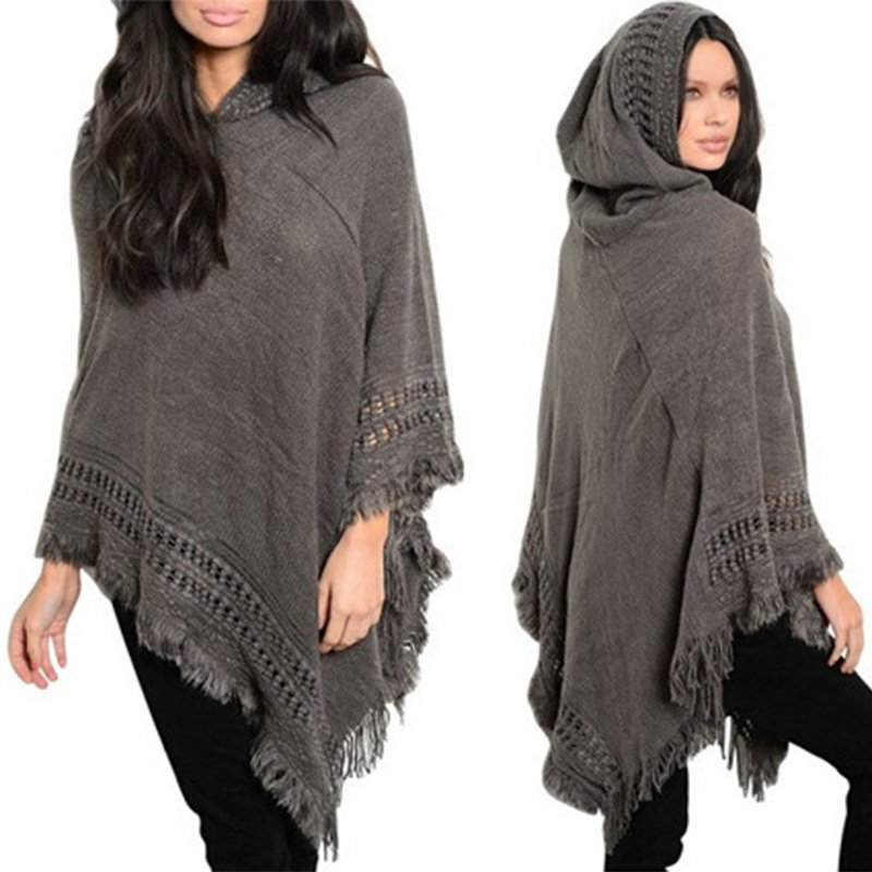 Poncho Jacket Knitting Pattern : Ladies Women Knitted Sweater PONCHO CAPE Trim Hooded Celeb Jacket Wrap Coat ...