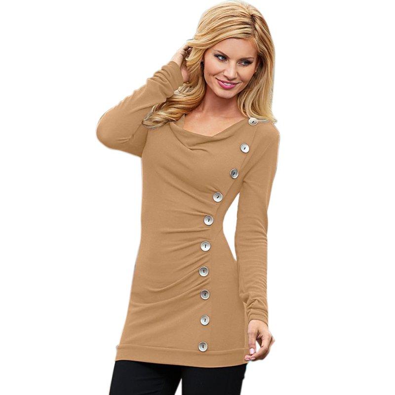 Fashion Women Loose Long Sleeve Cotton Casual Blouse Shirt ...