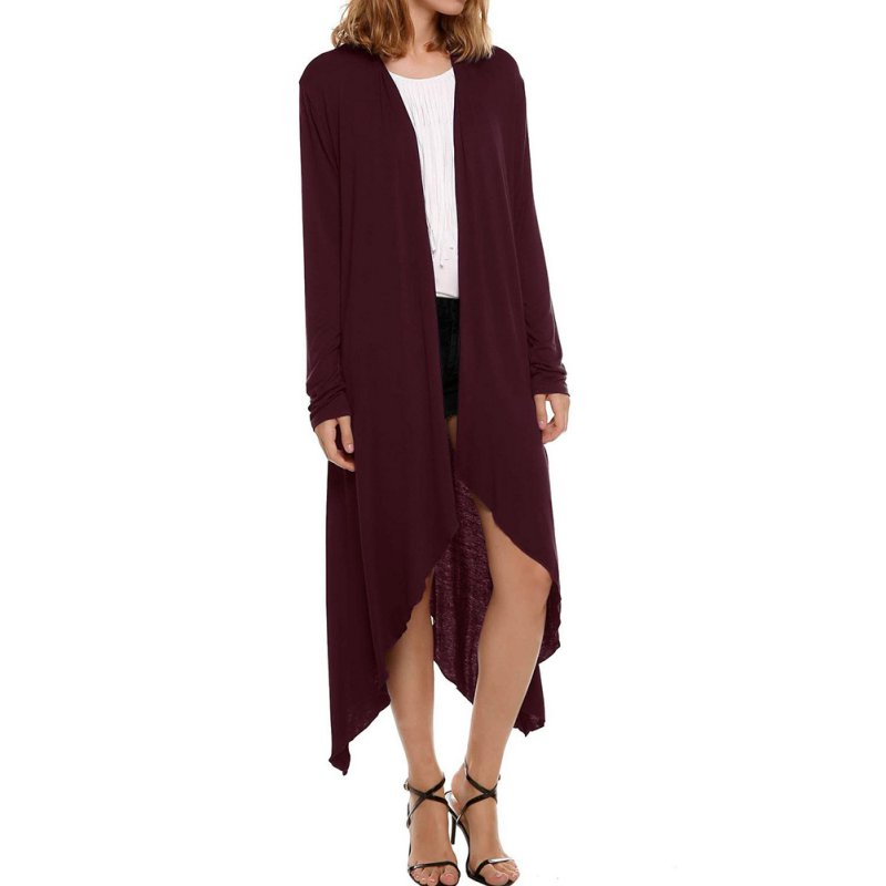 Women Open Front Draped Plain High-Low Hem Maxi Long Cardigan