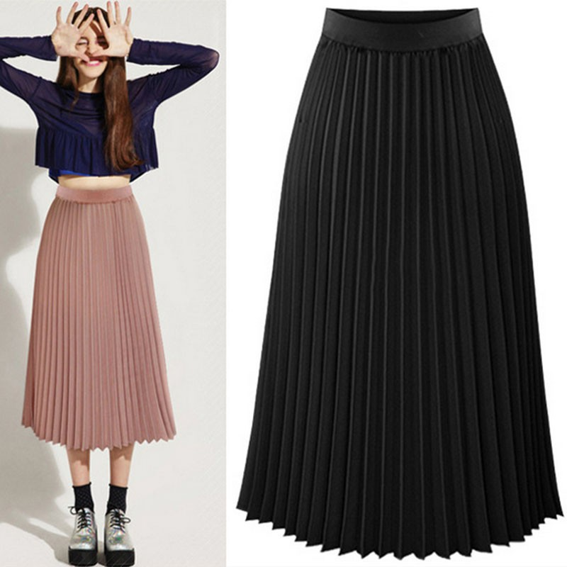 0902cfb8f6 Details about US Sexy Women Elastic High Waist Long Chiffon Slim Double  Layer Pleated Skirt