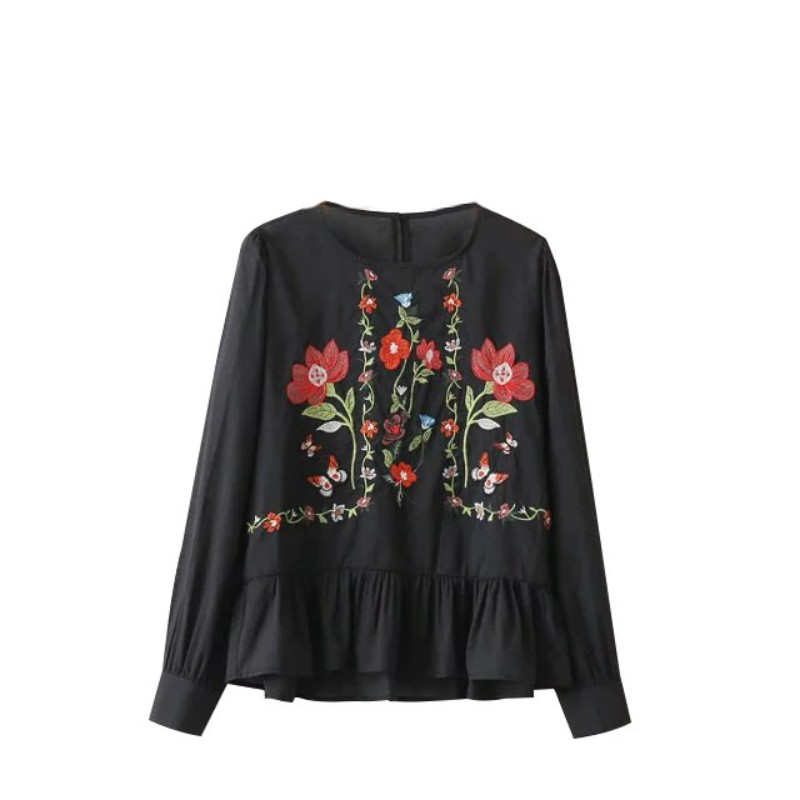 Fashion womens floral embroidered blouse long sleeve fold