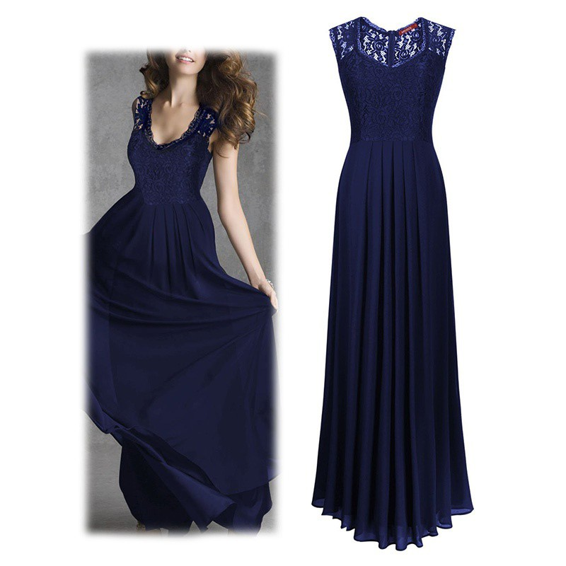 Birthday Dress For Womens: Womens Lace Cocktail Plus Big Size Maxi Dress Ladies