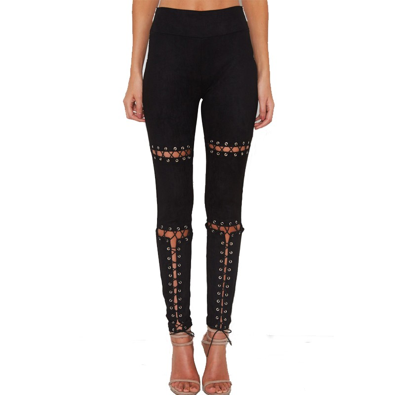 Fashion Women Leather Pants High Lace Up Slim Stretch ...