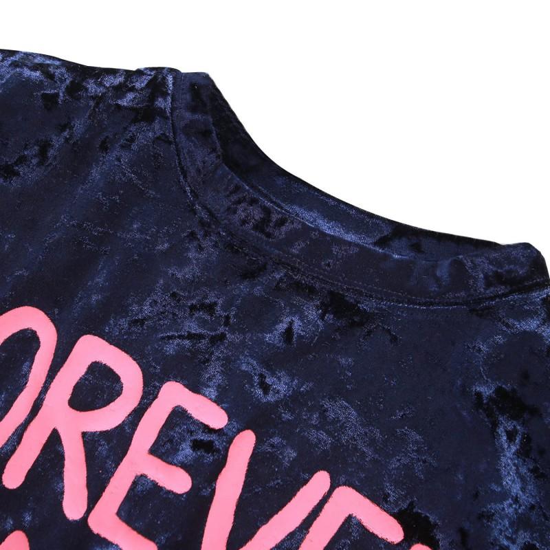 Women Casual Short Sleeve Letter Printed T-Shirt Velvet Vintage Shirt Tops New