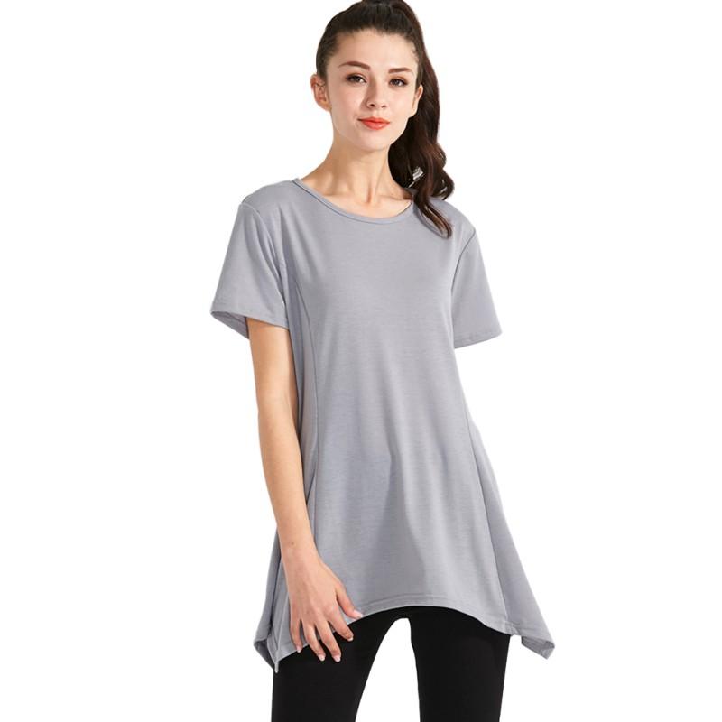 Womens-Cotton-Short-Sleeve-Asymmetrical-Hem-Tunic-Top-T-Shirt-Long-Shirt-Blouse