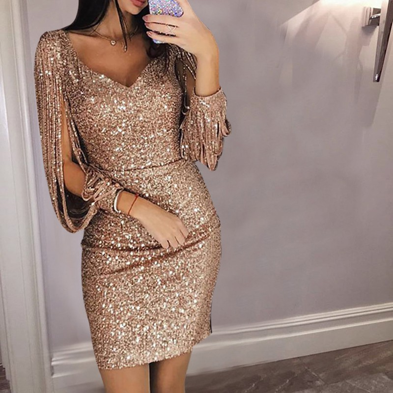 093e6e205c7d Image is loading Women-Sexy-Sequined-Deep-V-Bodycon-Cocktail-Evening-