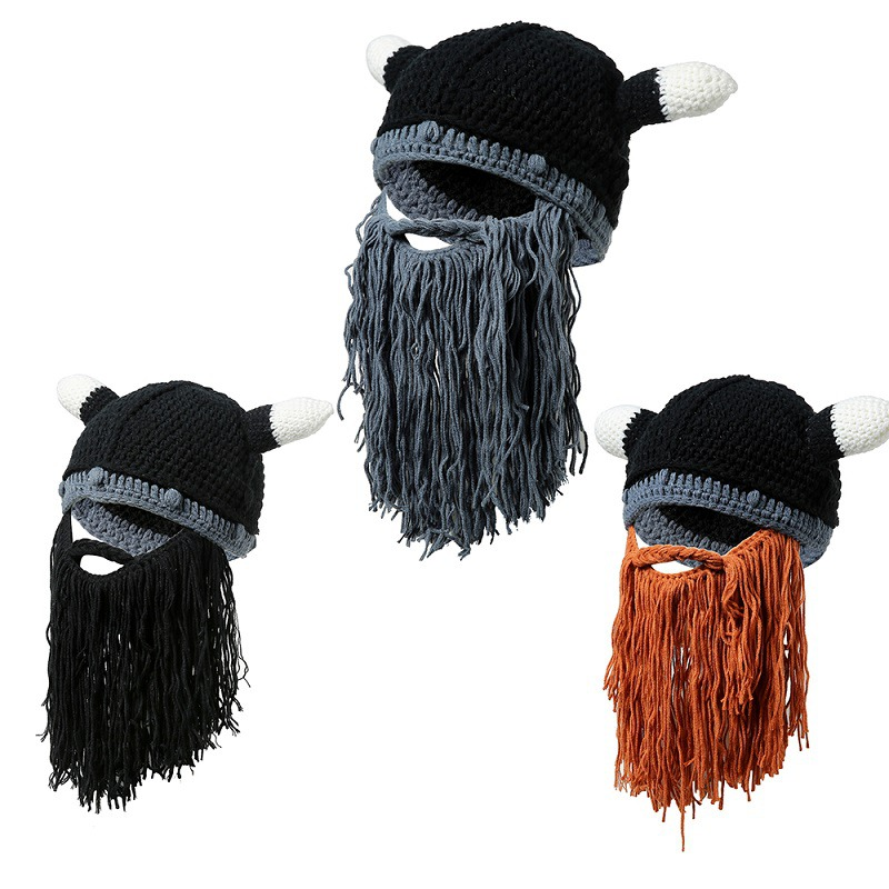 2abde9230160c Details about Viking Long Beard Horn Hats Winter Warm Knit Wind Mask  Christmas Funny Cosplay
