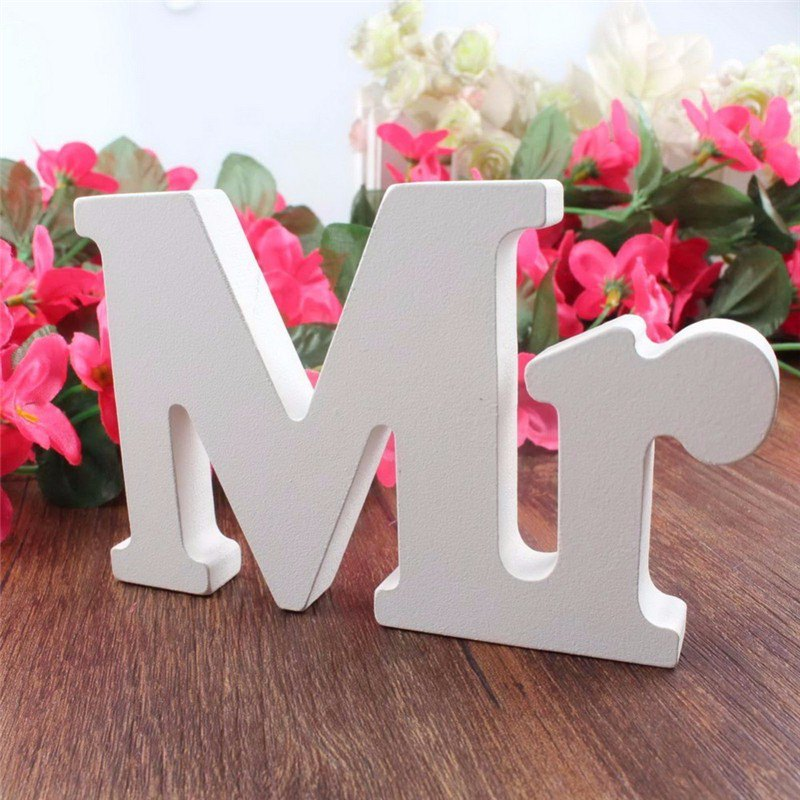Wedding White Wooden Mr And Mrs Letters Sign Table Top