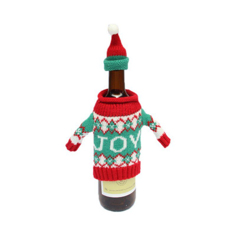 Red Christmas Decorations Santa Tree Wine Bottle Cover