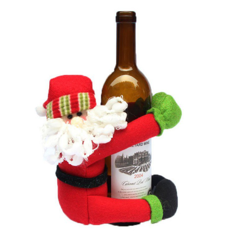 Red christmas decorations santa tree wine bottle cover for Red xmas decorations