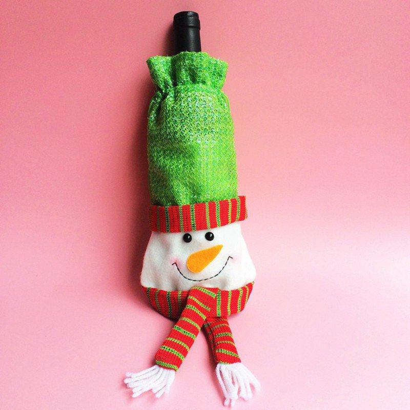 Red christmas decorations santa tree wine bottle cover for Wine bottle christmas tree frame for sale