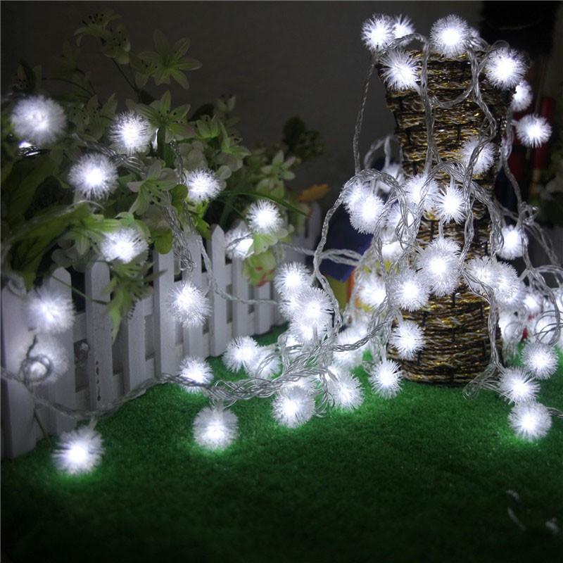2 5m 4m led pom ball home garden party light decorative fairy string pom lamp uk ebay. Black Bedroom Furniture Sets. Home Design Ideas