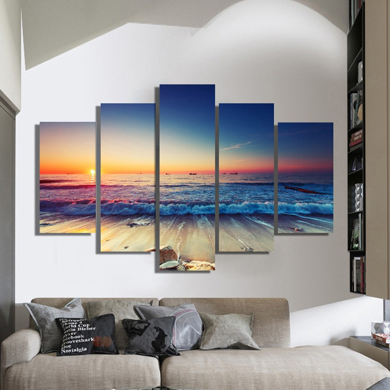 3 4 5pcs hd sea view boat top rated canvas painting wall