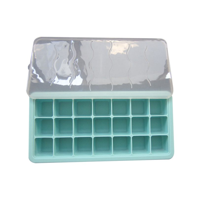 Ice Cube Tray Mold With Lid Baby Food Storage And Freezer